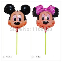 Wholesale Mylar Stick Balloons - Wholesale-40pcs lot minnie&mickey mouse with sticks helium balloons for birthday party decoration mylar globos Hot selling