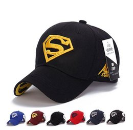 Wholesale Superman Hat Fitted - 8 colors adjustable Hip Hop superman Snapback Baseball Caps sports caps Women casquette Men Casual headware golf hat
