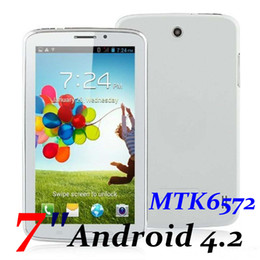Wholesale Built 3g Gsm - 2PCS 2G GSM Tablet Phone 7 Inch Screen Android 4.2 MTK6572 Dual Core 512MB RAM 4GB ROM Bluetooth GPS Dual Camera Tablet PC Phablet TA80