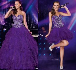Wholesale Cheap Light Up Collars - Cheap Purple Two Piece Quinceanera Dresses with Detachable Train Sequins Crystals Ruffles Tulle 2016 Sweet 16 Party Homecoming Prom Dresses