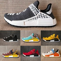 Wholesale Racing Running Shoes - Originals NMD Human Race trail Running Shoes Men Women Pharrell Williams NMD Runner Boost Shoes Yellow noble ink core Black White Red 36-47