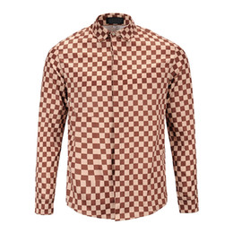Wholesale Designer Menswear - Italy new autumn fashion luxury brand menswear designer Plaid Print Shirt Design Medusa Mens Long Sleeve Shirt business casual
