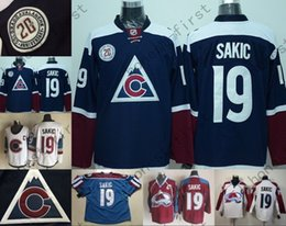 Wholesale C 19 - Colorado Avalanche Hockey Jerseys 19 Joe Sakic Jersey Home Burgundy Red Alternate New Blue Joe Sakic Stitched Jerseys C Patch