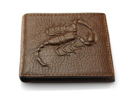 Wholesale Photo Free Prints - Genuine Leather Men Wallets Fashion Scorpion Pattern Design 2 Folds Credit Card Holder Purse Wallet Free Shipping
