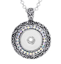 Wholesale Button Jewerly - 18mm NOOSA Ginger Snap Button Pendants with Crystal Diamond Jewelry Interchangeable Necklaces Accessory Jewerly for mens women XMAS Gift