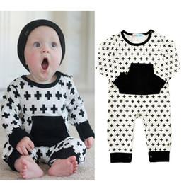 d36b01f3e0fc 2017 Ins Jumpsuit for Baby Romper Cross Black white Infants clothing  Sleepwear Long sleeve Cotton Autumn Winter 0-18months