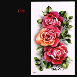 Wholesale Nail Art Tatoo - Wholesale-2015 New 3D Body Art Sexy Non-Toxic Flash Tattoos Flower nails Temporary Tatoo Sticker For Women