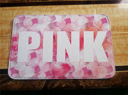 Wholesale Livingroom Carpets - Pink Letters Bath Mat 40*60cm 50*80cm Pink Pattern Anti-Slip Mats Carpets Bath Room Livingroom Floor Mats Kitchen Rugs Home Decor 5 design