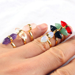 Wholesale Double Finger Adjustable Rings - Amethyst Onyx etc Natural Stone Double Point Chakra Mini Hexagon Prism Adjustable Finger Rings Charms Amulet Fashion Jewelry 14X Mix Order