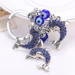Presente do natal da coruja bolsa de lona on-line-Moda Do Vintage Chaveiro Rhinestone Olho Azul Chaveiro Coruja Dolphin Árvore Chaveiro Saco Titular Chave Do Carro Jóias Presente De Natal D306S