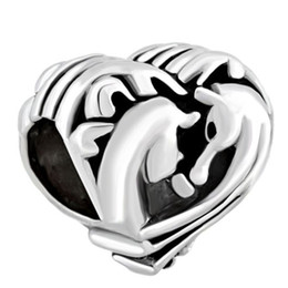 Wholesale Silver Plated Filigree - Filigree Heart Couples Horse Best Friends Forever European spacer bead metal charm bracelet with big hole Pandora Chamilia Compatible