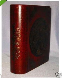 Caixa de jóias de madeira esculpida on-line-Couro chinês madeira esculpida dragão Phoenix livro caixa de jóias