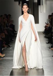 Wholesale Cowl Neck Dresses For Women - 2016 Arabic Split Evening Dresses White Ivory Cowl Back Shawl Wrap Plus Size Pamella Roland Runway Formal Prom Celebrity Gowns For Women