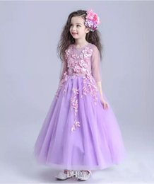 2019 lunghi vestiti caviglie per i bambini Lanvender Handmade Flower Girls Pageant Dresses 2018 Newest Tulle 2/3 Long Sleeve Ankle Length Kids Formal Birthday Gown sconti lunghi vestiti caviglie per i bambini