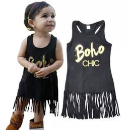 2019 ropa de niña occidental Vestido de las muchachas del estilo metálico de la roca del verano Vestido de las muchachas de la borla del oeste Ropa occidental del recién nacido Venta caliente ropa de niña occidental baratos