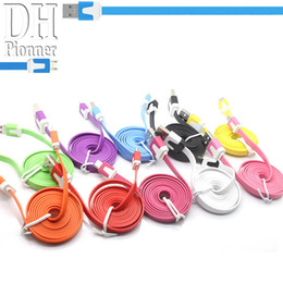 Wholesale Colors Usb - 1M 2M 3M 10 Colors Noodle Micro USB Cable For Samsung S4 3 2 HTC HUAWEI And Other Android Phones.