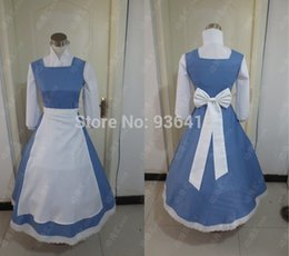 Wholesale Fancy Dress Belle - Wholesale-Blue Belle Princess dress cosplay costume from beauty and the beast custom made Fairy Tale fancy dress cosplay costume