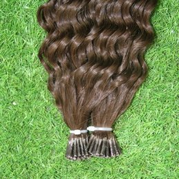 Wholesale Deep Wave I Tip - Hot Selling Capsule Keratin Fusion Pre Bonded Thick I-TIP Human Hair Extensions 100s bag #2 Darkest Brown Brazilian Deep Wave