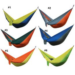Wholesale Quality Cot - High quality Outdoor Camping Traveling 2 People Leisure Parachute Hammock Portable Nylon Parachute Hammock 6 Colors Fashion