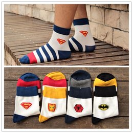 Wholesale Superman Sport Dhl - Free DHL Hot Mens socks Sports Sock Cotton socks Batman Socks Superman socks Super Hero socks For Men LA65-7