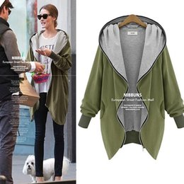 Wholesale Green Hoodie Trench - 2017 Autumn Winter Trench Coats Fashion Women Long Sport Hoodies Coat Long Sleeve Plus Size Large Casual zipper Coats Clothing Outwear D12