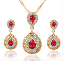 Wholesale Gp Necklaces - Luxury Fashion Crystal Rhinestone GP Pendant Necklace Earring Wedding Party Jewelry Set Brand New Good Quality Free Shipping