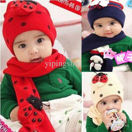 Wholesale Crochet Gloves For Boys - Wholesale-Baby Knitted Hat Scarf Set Boy Beetle Animal Crochet Knit Earflap Kids Beanie Hats for Boy Girls Children Hat and Scarf Set M42