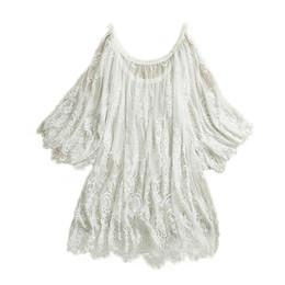 Wholesale Wholesale White Maxi Dresses - Wholesale-2015 Summer Women Vestidos Hippie Boho Embroidered Floral Bohemian Sexy Lace Crochet Beach Wear Mini White Black Maxi Dress