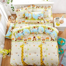 Wholesale Giraffe Sheets - Wholesale- Kids Like Cartoon Cotton giraffe Printed Bedding Sets super king Size Bed Sheet Duvet Cover Set pillowcases Home Textiles