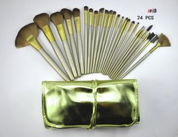 Wholesale Gold 24 Set - lowest price  High quality  new hot Nude #3 Gold 24 Pcs set Makeup Brushes with leather pouch