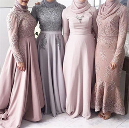 Wholesale Grey Chiffon Sleeve Dress - High Neck Muslim High Neck Long Sleeves Grey Bridesmaid Dress with Kerchief Applique Lace A-line Wedding Party Dresses