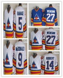 Wholesale Mcdonald S - 2016 NEW, 1981 Colorado Rockies Hockey Jersey John Wensink 27 Blue White Stitched CCM Vintage 9 Lanny McDONALD,14 Rene Robert,5 Rob Ra