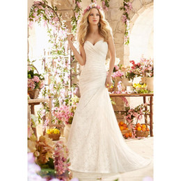 Wholesale Dress Back Appeal - Appealing New Design Sweetheart Chapel Train Pleat Lace Wedding Gown Bridal Dress 2016 Mermaid Lace Up Back