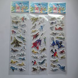 Wholesale Three Airplane - hot sale children boy love 2015 airplane stickers PVC Three Dimensions decorate the room fashion kids boy airplane school Gifts 200pcs lot