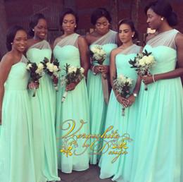 Um ombro verde hortelã vestido formal on-line-Vestidos de dama de honra baratos A linha de ombro de um ombro Mint Green Chiffon Vestidos de dama de honra do assoalho-comprimento 2016 formal vestidos de festa à noite