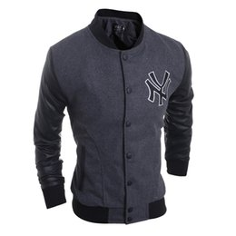 Wholesale Baseball Team Clothing - Foreign models NY team logo embroidered woolen fabric stitching leather men's jacket collar Slim baseball clothes 5972