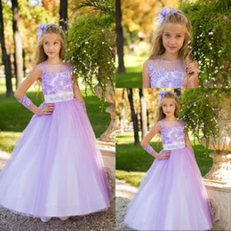 Wholesale Girl Dress Modest - Beautiful A Line Jewel Floor Length Lilac Tulle Appliques Flower Girls' Dresses Garden Style Modest Pageant Girls Dresses