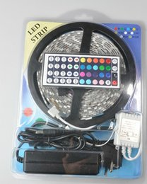 Wholesale Wholesale Package Supplies - Led Strip Light RGB 5M 5050 SMD 300Led Waterproof IP65 + 44Key Controller + 5A Power Supply With Retail Package Christmas Gifts