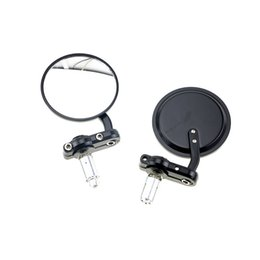 """Wholesale Round Side View Mirrors - 7 8"""" Universal Round Motorbike Motorcycle Rear View Handle Bar End Rearview Side Mirrors Chrome Black"""