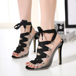 Wholesale Sexy Stylish High Heels - 2016 New stylish transparent patchwork ankle wrap sexy high heels shoes summer sandal size 35 to 40