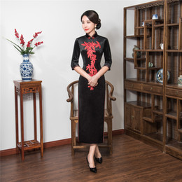 Wholesale Traditional Chinese Long Dress Velvet - Shanghai Story Chinese Style Dress Velvet Long Qipao Chinese traditional dress 3 4 Sleeve cheongsam Autumn Embroidery Qipao