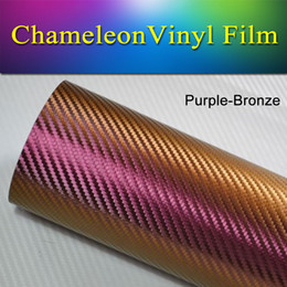 Wholesale Chameleon Carbon Fiber Vinyl - 1.52x30m(5x98FT) Vehicle vinyl wrap roll Purple-Bronze chameleon carbon fiber Vinyl Wrap Decal Film stretch air bubble free