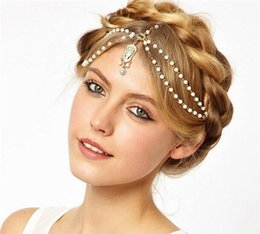 Wholesale bride hair chain - Bohemia Style Womens Hair Accessories Wedding Bride Beaded Pearls Chain Head Hair Jewelry Rhinestone Ornaments Crown Chirstmas Gifts K589