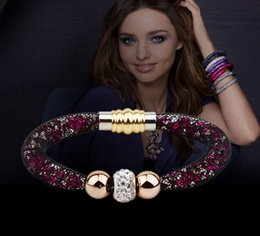 Wholesale Crystal Shamballa Bracelet Wholesale - New Infinity Crystal Bracelets With Shining Micro Shamballa Crystal Beads Magnetic Stainless Steel Clasp Weave Balls Bracelet Jewelry
