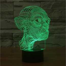 Wholesale Toy Lord Rings - Wholesale- Hot ! NEW 7color changing 3D Bulbing Light Hobbit Gollum Lord of the Rings visual illusion LED lamp action figure toy Christmas