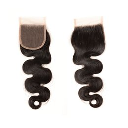 Wholesale Human Wigs Hair Pieces - high quality 4*4 Lace closure Body Wave Human Hair Top Lace Closures Pieces  human hair wigs