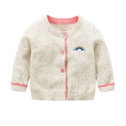 Wholesale Children Design Sweater - INS Baby Clothes Knitted Sweater Long Sleeves Rainbow Designs Girls Cardigan Sweater Baby Tops Autumn Winter Kids Clothing Children Coat 897