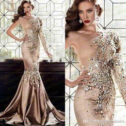 Wholesale Zuhair Murad Muslim - Luxury Zuhair Murad Crystal Long Evening Dresses 2017 Abaya In Dubai One Shoulder Rhinestone Gowns Muslim Long Sleeve Gold Prom Dresses