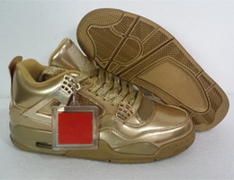 Wholesale Running Jumping - Jump 4 Retro Tyrant Gold Color Mens Basketball Shoes Dan IV Retro Sports Running Shoes Low Fashion Sneakers Man Boots
