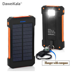 Wholesale External Battery Mah - 2017 Waterproof Solar Power Bank Real 20000 mAh Dual USB External Polymer Battery Charger Outdoor Light Lamp Powerbank Ferisi